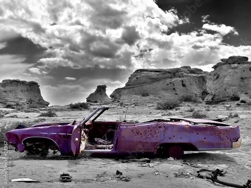 Wall mural abandoned car