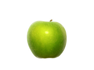 green apple, side view on white