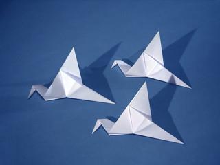 three paper birds