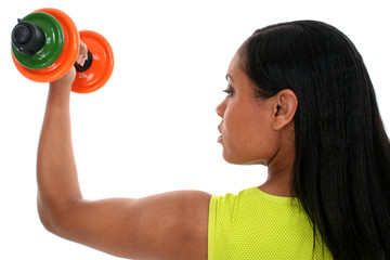 beautiful woman working out with weights