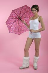 brunnete with umbrella