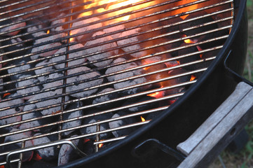 Aluminium Prints Grill / Barbecue bbq flames through the grid