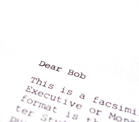 isolated business facsimile letter
