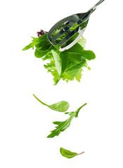 falling salad leaves