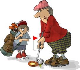 golfer and caddy