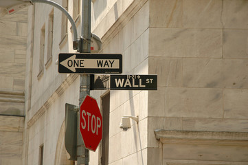 wall street - one way - stop