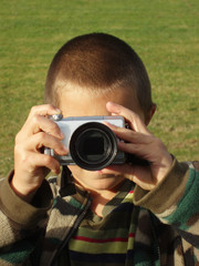 young boy on a photo job