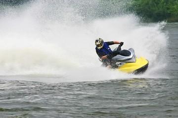 Fotobehang Water Motor sporten jet ski