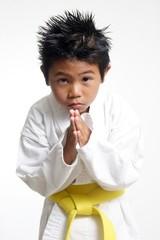 cute karate kid bowing