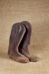 boots on burlap