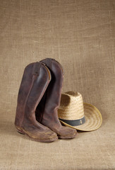 boots and hat on burlap 3
