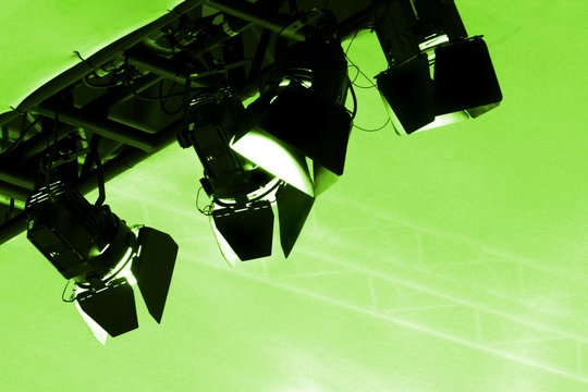 green stage lights