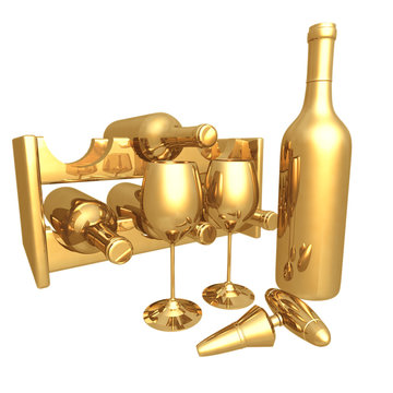 gilded wine 3d