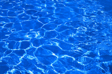 blue water in pool