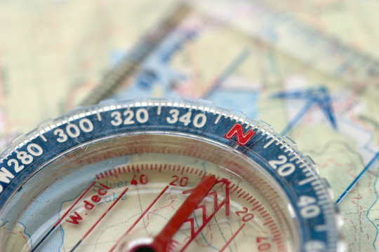 compass and map, macro