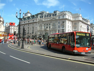 Aluminium Prints London red bus picadilly circus