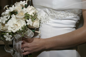 bouquet and wedding gown, dress