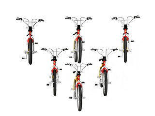 bicycles in formation