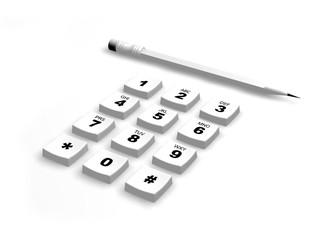 keypad and pencil