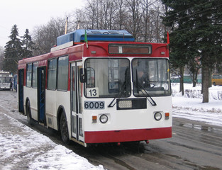 trolleybus on a station