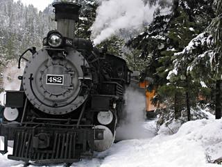 steam locomotive in snow
