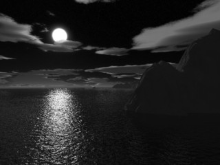 halloween moonnight on sea