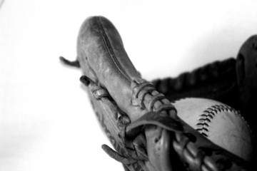 ball and glove , black and white