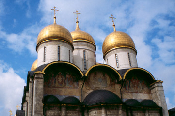 cathedral church kremlin sky moscow