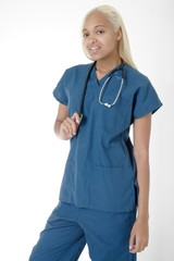 young student nurse in scrubs
