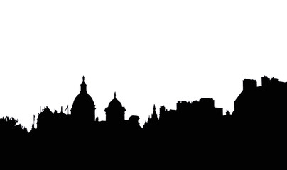 Deurstickers black on white city silhouette