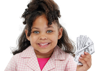 adorable little girl and money