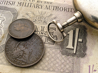 victorian coins and pocket watch
