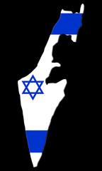carte de l' état d' israel sur fond noir