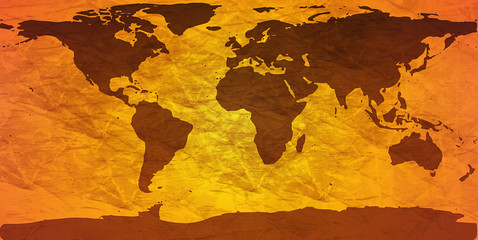 Deurstickers Wereldkaart crumpled world map