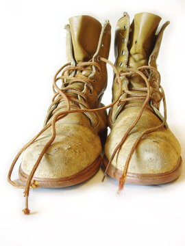 steel toed work boots on white background