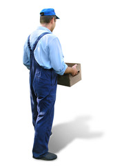 young worker in working clothes, carrying box.