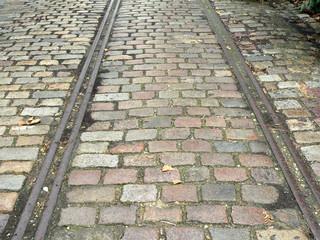 rails,pavés,horizontal