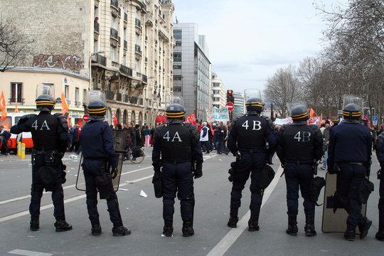 manifestation, policier, crs
