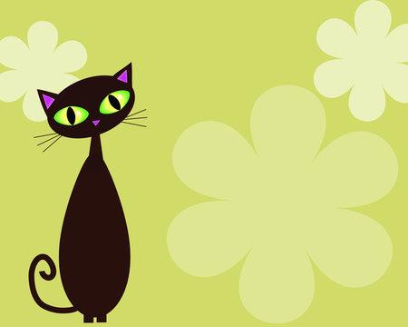 black cat on lime background