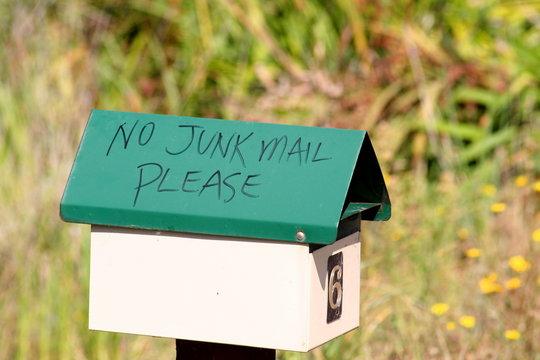 green no junk mail mailbox