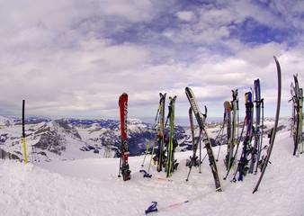 switzerland, mount titlis in winter: summit