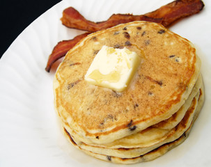 breakfast pancakes and bacon