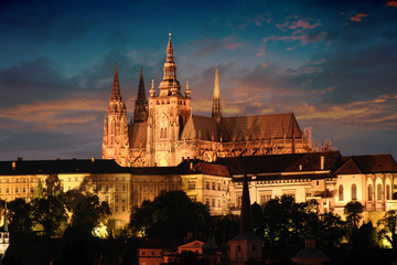 Spoed Fotobehang Praag prague in the night