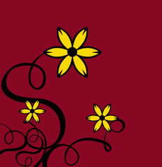 decor curls with yellow flowers & red background