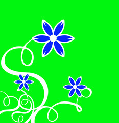 decor curls with blue flower & green background