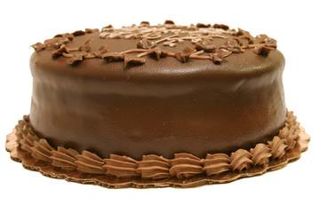 chocolate fudge cake isolated