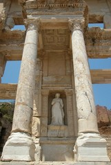 statue of arete at celcus library in ephesus, turk