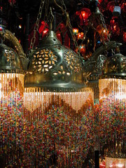 colorful turkish lamps in the grand bazaar, istanb