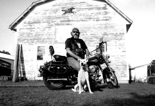 biker with dog