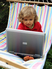 little girl and laptop